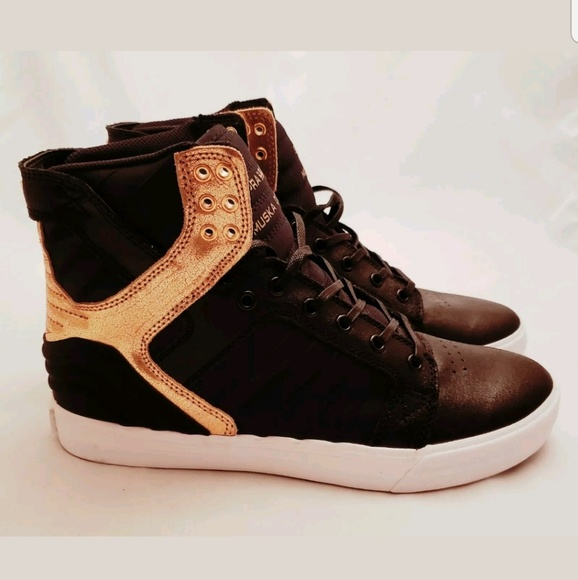 38bb847ab14 Supra Shoes | Mens Skytop Evo Black Gold High Top | Poshmark